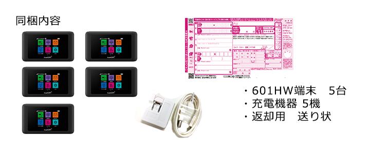 601HW,発送の際の同梱内容,端末,充電器,弊社着払い伝票